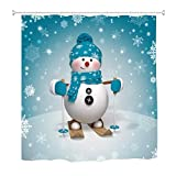 "Christmas Shower Curtain Decorations Collection,Winter Holiday Xmas Themed House Decor Year Ornaments, Polyester Fabric Bathroom Bath Curtain Set with Hooks (Skiing Snowman, 60"" X 72"")"