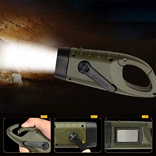 (Hand Crank Solar Powered Flashlight LED Portable Dynamo Rechargeable Carabiner Buckle Emergency Mini Torch for Outdoor Camping Climbing Hiking)