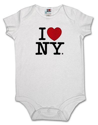 S & T World Products I Love NY Babies Onesie 100% Soft Cotton White 6 Month]()