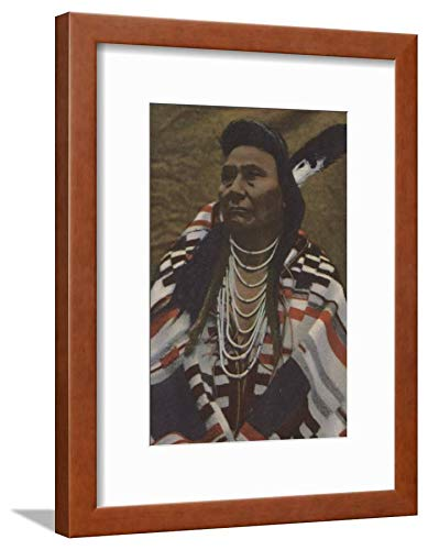 ArtEdge Northwest Indians-Chief Joseph of The Nez Perces Tribe Wall Art Framed Print, 16x12, Brown Soft White Mat
