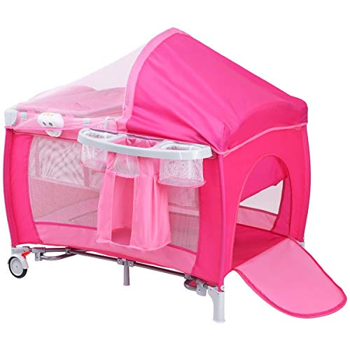 LHONE Portable Foldable Travel Baby Crib Playpen Baby 3 in One Crib Playpen Travel Playpen Changer w/Mosquito Net and Carring Bag (Pink) by LHONE (Image #1)