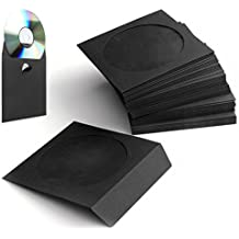 Flexzion 100 Pack CD DVD Thick Paper Sleeves (Black) Standard Envelope Cases Display Storage Premium with Window Cut Out and Flap for Music Movie Video Game Disc