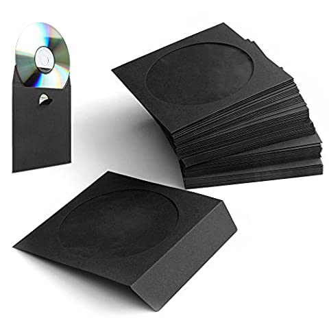 Flexzion 100 Pack CD DVD Thick Paper Sleeves (Black) Standard Envelope Cases Display Storage Premium with Window Cut Out and Flap for Music Movie Video Game - Adhesive Back Cd