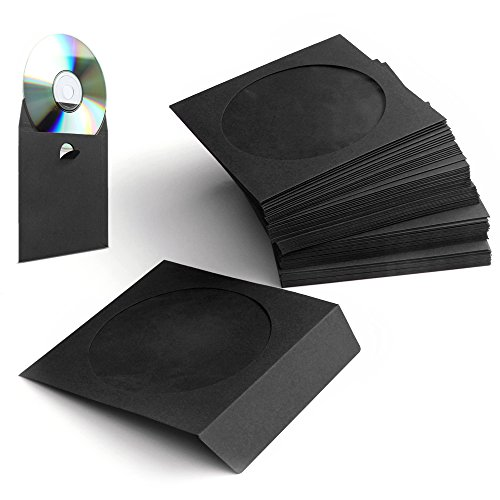 Flexzion 100 Pack CD DVD Thick Paper Sleeves (Black) Standard Envelope Cases Display Storage Premium with Window Cut Out and Flap for Music Movie Video Game Disc Affordable Wedding Cd Favors