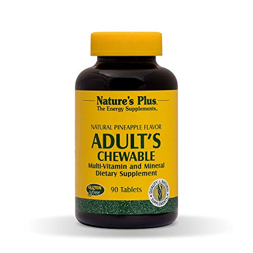 Natures Plus Adults Multivitamin Chewable - 90 Vegetarian Tablets - Pineapple Flavor - Daily Vitamin & Mineral Supplement for Overall Health, Energy Booster - Gluten Free - 90 Servings ()