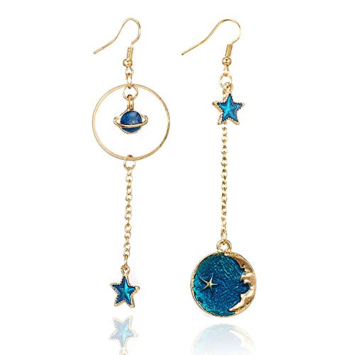 YOMXL Star Moon Earrings,Blue Theme Long Pendant Dangle Drop Hook Earrings Romantic Valentine Gift Jewelry for Woman Girls (A) ()