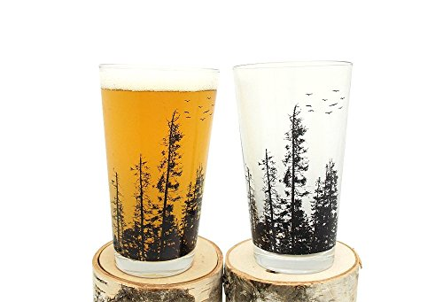 Pint Glasses - Pine Tree Forest - Set of Two Screen Printed Pint Glasses Pine Glassware