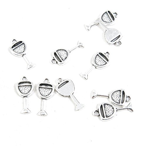 100 Pieces Antique Silver Tone Jewelry Making Charms Pendant Findings Craft Supplies Bulk Lots Arts G2HU5 Wine Juice Cup Glass