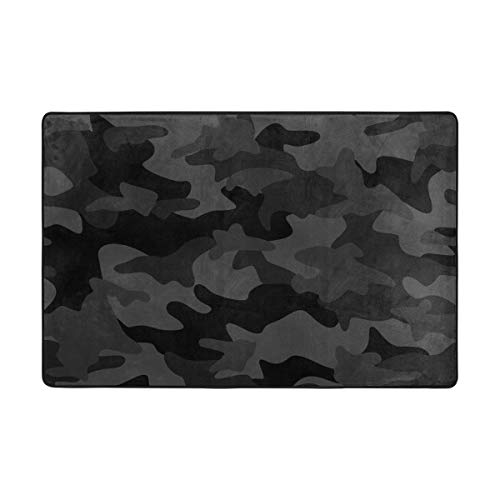 Alaza Dark Black Camo Camouflage Abstract Geometric Area Rug Soft Non Slip Floor Mat Washable Carpet For Bedroom Living Room 1 Piece 4x6 Feet Baby