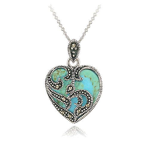 925 Silver Marcasite & Reconstituted Turquoise Heart Necklace