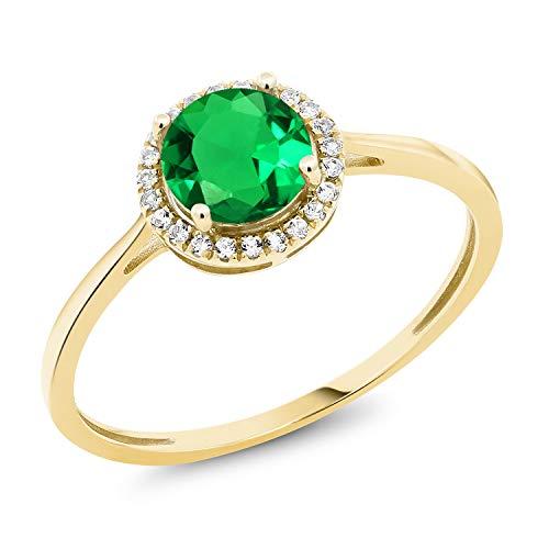 (10K Yellow Gold Diamond Engagement Ring Round Green Nano Emerald (Size)