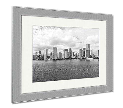 Ashley Framed Prints Miami Seascape With Skyscrapers In Bayside Downtown, Wall Art Home Decoration, Black/White, 30x35 (frame size), Silver Frame, - Shops Bayside Miami
