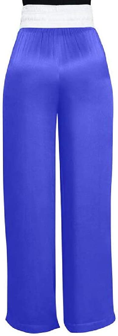 Generic Womens Plus Size Stretchy High Waist Wide Leg Long Pants with Belt