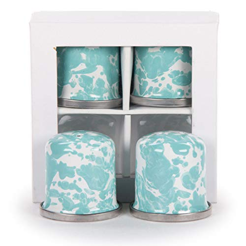 Golden Rabbit Enamelware Sea Glass Swirl Mini Salt & Pepper Shakers - 2 Sets