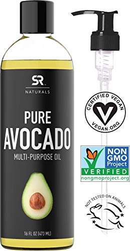 Pure Avocado Oil for Hair, Skin, Aromatherapy, Massage & More ~ 100% Natural and Non-GMO Project Verified (16oz) ()