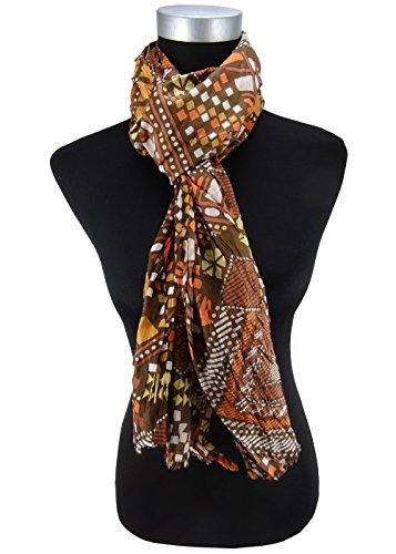 écharpe en orange brun jaune gris beige à motifs - écharpe taille 180 x 50 cm