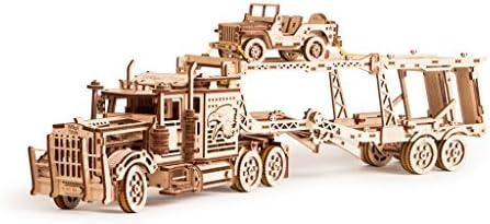 [해외]Wood Trick 3 in 1 Bundle Big Rig + Tank Trailer + Car Trailer Self-Propelled Mechanical Models 3D Wooden Puzzle DIY Toy Assembly Gears Constructor Kits Gift for Kids Teens and Adults / Wood Trick 3 in 1 Bundle Big Rig + Tank Traile...