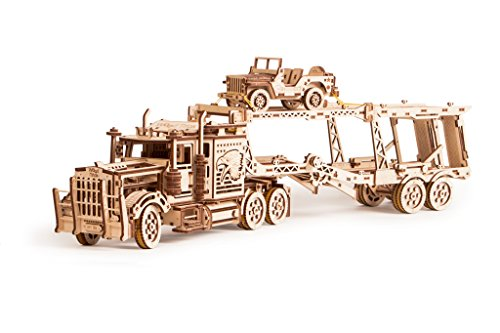 Wood Trick 3 in 1 Bundle Big Rig + Tank Trailer + Car Trailer Self-Propelled Mechanical Models 3D Wooden Puzzle DIY Toy Assembly Gears Constructor Kits Gift for Kids Teens and Adults