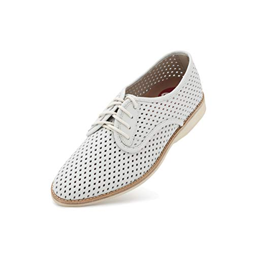 (Rollie Women's Derby Punch White, Perforated Leather Oxfords White Flat Shoes for Women with Holes Perforations, Size 9 US / 40 EU)