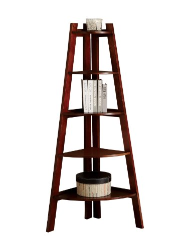 Cherry Corner Shelf - Furniture of America Andrea 5-Tier Corner Bookshelf, Cherry