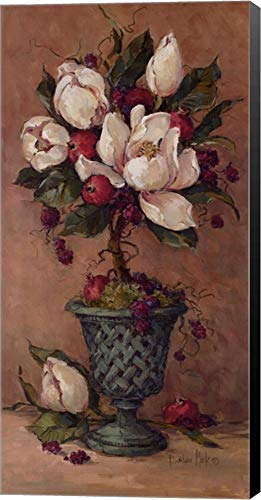Magnolia Topiary I by Barbara Mock Canvas Art Wall Picture, Museum Wrapped with Black Sides, 12 x 24 inches