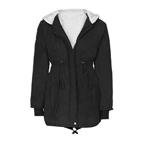 Blue Polyester Parka Set (Womens Winter Warm Long Jacket Coat, Bolayu Ladies Hooded Parka Fleece Top (M,)
