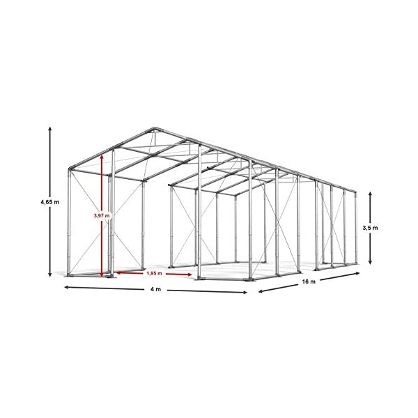 Das Company Tendone Deposito 4x16x3,5 m Tendone Bianco ignifugo Impermeabile 620g/m² Tenda da stoccaggio Rinforzo dell… 2 spesavip