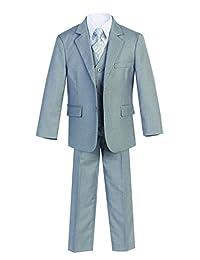 Magen Kids 5 PcS Boys Formal L Gray Suit,Vest,Pant,Dress Shirt,Tie Set Size 2-18
