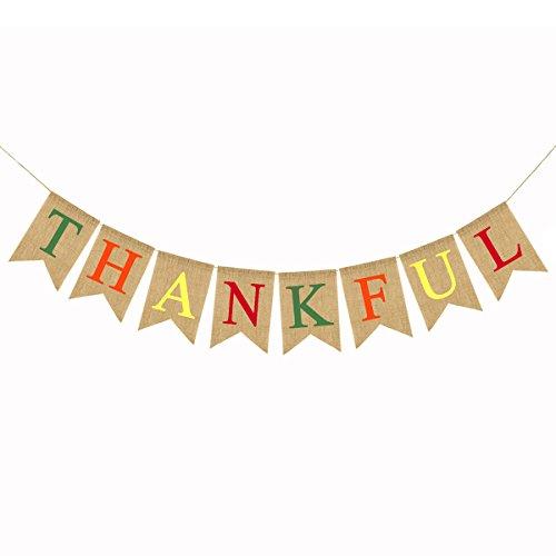 LUOEM Agradecido Burlap Banner Acción de Gracias Maple Leaf Banner Rústico Fiesta de Acción de Gracias Otoño Otoño...