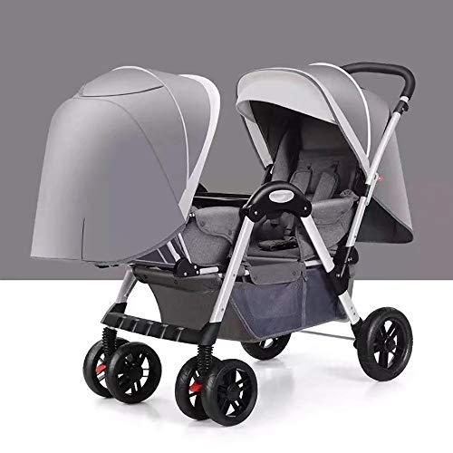 Double Stroller, Twin Tandem Baby Stroller with Adjustable Backrest, Footrest, 5 Points Safety Belts, Foldable Design for Easy Transportation (Color : Gray)