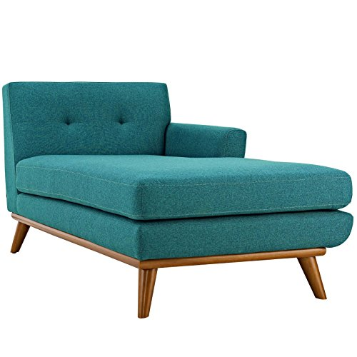 Modway EEI-1794-TEA Engage Mid-Century Modern Upholstered Fabric, Right-Arm Chaise, Teal (Fabric Modern Chaise)