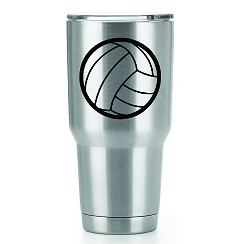 Volleyball Vinyl Decals Stickers ( 2 Pack!!! ) | Yeti Tumbler Cup Ozark Trail RTIC Orca | Decals Only! Cup not Included! | 2 - 3 X 3 inch Black Decals | KCD1240