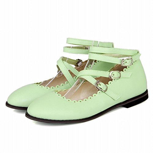 Carolbar Womens Cinturino Alla Caviglia Dolce Lolita Cosplay Fibbia Mary Janes Flats Verde Menta