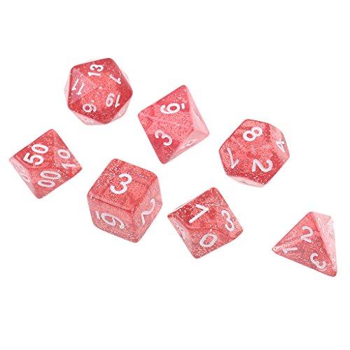 homyl 7pc 1.6CM / 0.62` Polyhedral Dice Set d6-d20D & DのRPG MTGテーブルゲームおもちゃレッド