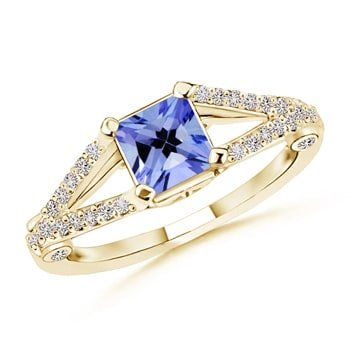Square Ring Tanzanite (December Birthstone - Split Shank Square Tanzanite Ring for Women with Diamond Accents in 14K Yellow Gold (5mm Tanzanite))