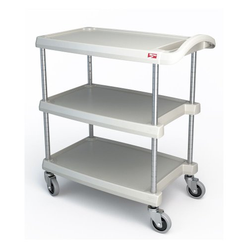 Cheap Metro MY1627-34G Utility Cart – 3-Shelf, Open Base, 400-lb Capacity, Gray, Each
