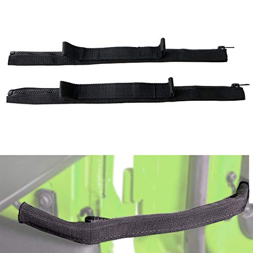 Door Limiting Strap for Jeep Wrangler JK 2007-2018 Door Check Straps with Wire Harness Protection Black(2Pack)