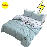 OTOB Cotton Cactus Twin Duvet Cover Set for Girls Adults Reversible Teen Bedding Sets Twin Size with 2 Pillow Sham(Twin, Style 1)