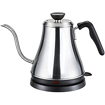 Willow & Everett Electric Gooseneck Kettle for Pour Over Coffee and Tea - 1L Electric Teapot Drip Kettle - Stainless Steel Coffee Kettle and Electric Tea Pot