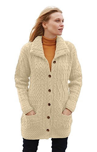 (Buttoned Irish Funnel Neck Merino Wool Cardigan Sweater Jacket (X-Large, Natural))