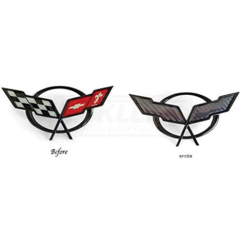 Eckler's Premier Quality Products 25-348372 Corvette Emblem Decal Overlay, Front Or Rear, Carbon (Carbon Fiber Corvette Parts)