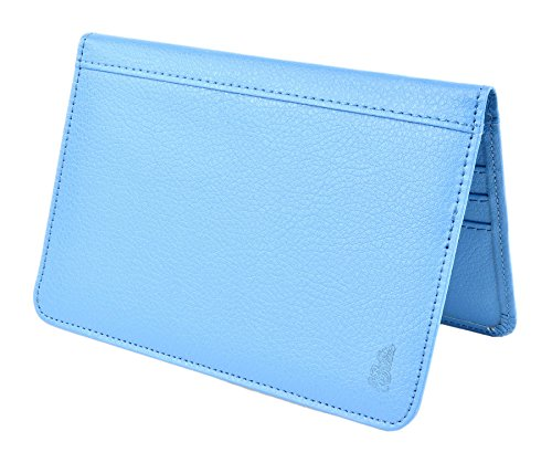 Belle Donne - RFID Blocking Passport Holder PU Leather Travel Passport Wallet - Sky Blue