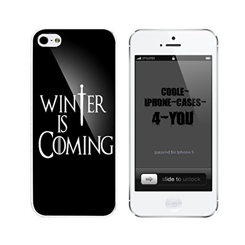 Iphone 5 / 5S Schutzhülle Winter is Coming - weisser Rahmen