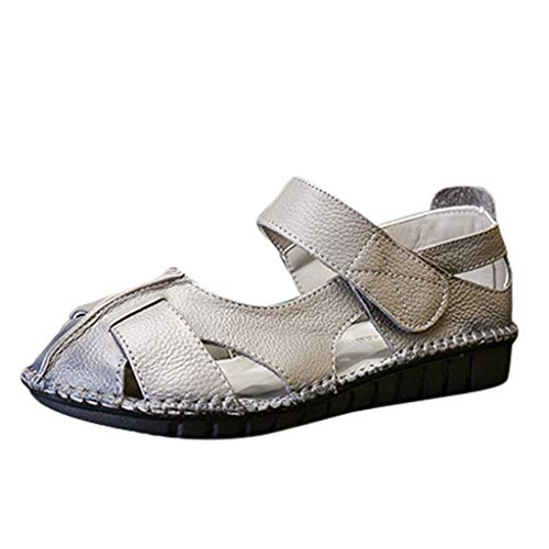 ✔ Hypothesis_X ☎ Women's Hollow Out Sandals Vintage Handmade Sandals Casual Shoe Soft Bottom Flower Flat Shoes Gray