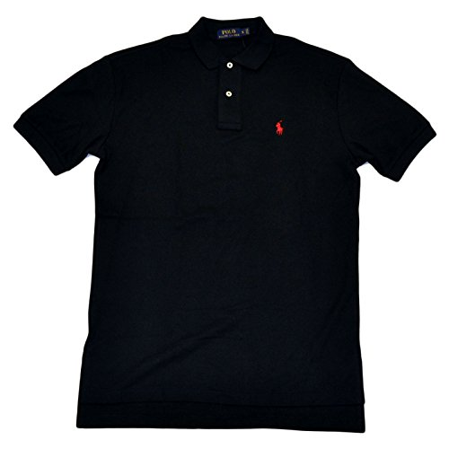 Polo Ralph Lauren Mens Classic Fit Interlock Pony Shirt-Black/Red - Black Ralph Logo Red Polo Lauren