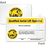 "Qualified Aerial Lift Operator Training Certification Card (with Graphic), 3.375"" x 2.125"""