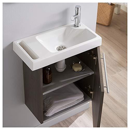 Pack Lave Mains Sandy Grey pour WC avec Robinet Eau Froide /à Droite et Porte Serviette