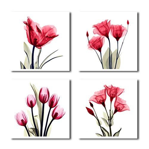 HLJ ART 4 Panel Elegant Tulip Purple Flower Canvas Print Wall Art Painting for Living Room Decor and Modern Home Decorations Photo Prints 12x12inch (RED-A) (Canvases Red)