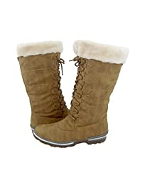 Comfy Moda Canada Women's Winter Ice Snow Boots Cold Weather Faux Fur Full Lined Water Resistant Blue Mountain
