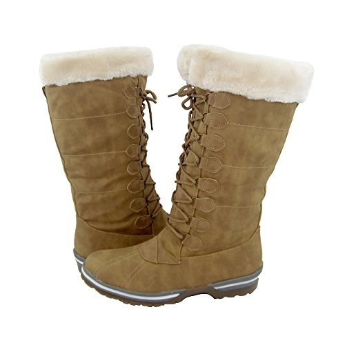 Lined Cold Mountain Classic Snow Moda Winter Water Canada Comfy Blue Women's Ice Faux Weather Resistant Full Tan Fur Boots xq70fTaXT